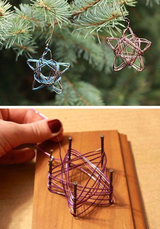 Handmade Star Wire Ornament | Click for 28 Easy DIY Christmas Decorations for Home | Easy DIY Christmas Ornaments Homemade: