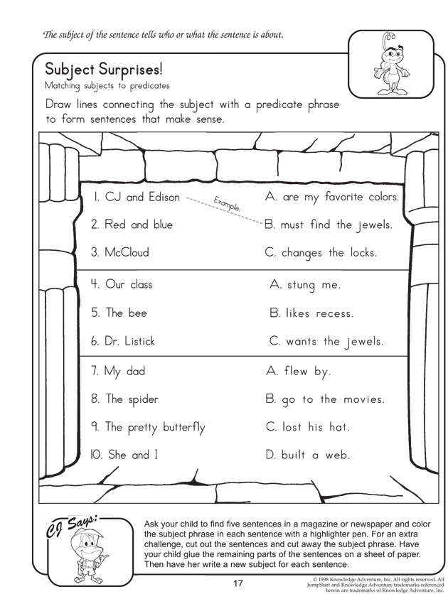 Subject and Predicate Subject and Predicate Activities