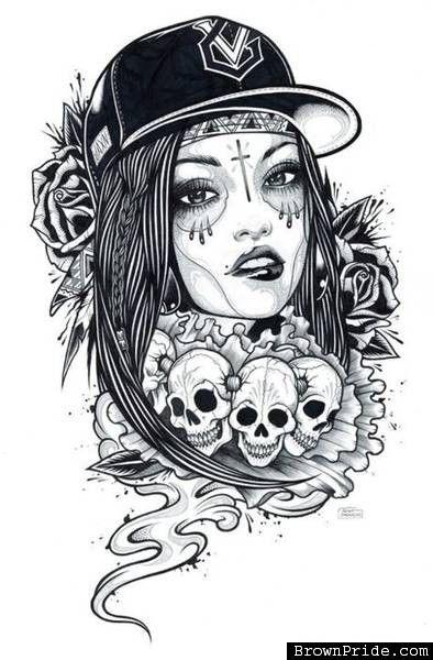 chicana   skulls or angel wingsthe beauty of women