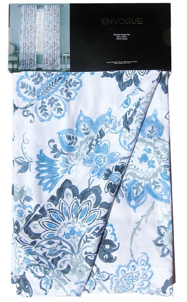 ENVOGUE Navy Blue Jacobean Floral Window Curtain Panels 50 By 96 Inch PAIR NEW Gardens Window