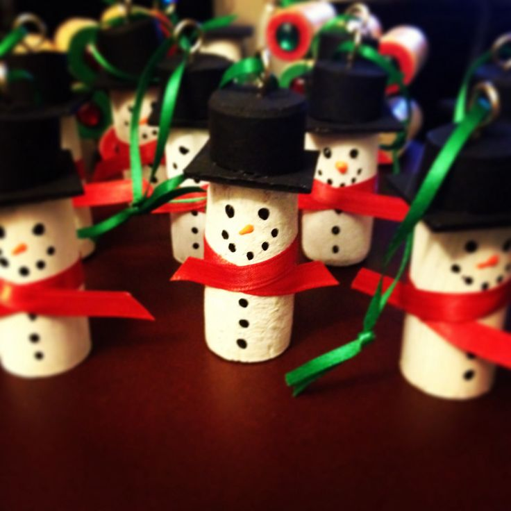 Snowman Cork Ornaments Made Using Wine Corks Craft Paint