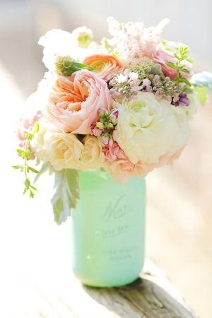 DIY Mint Seafoam sprayed paint painted wedding mason jars decoration pink peach