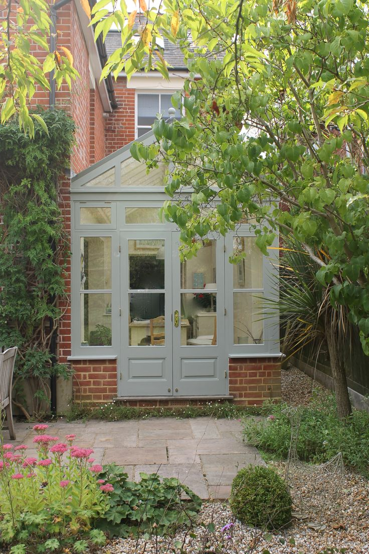 Conservatory Painted In Farrow And Ball Pigeon Brick And
