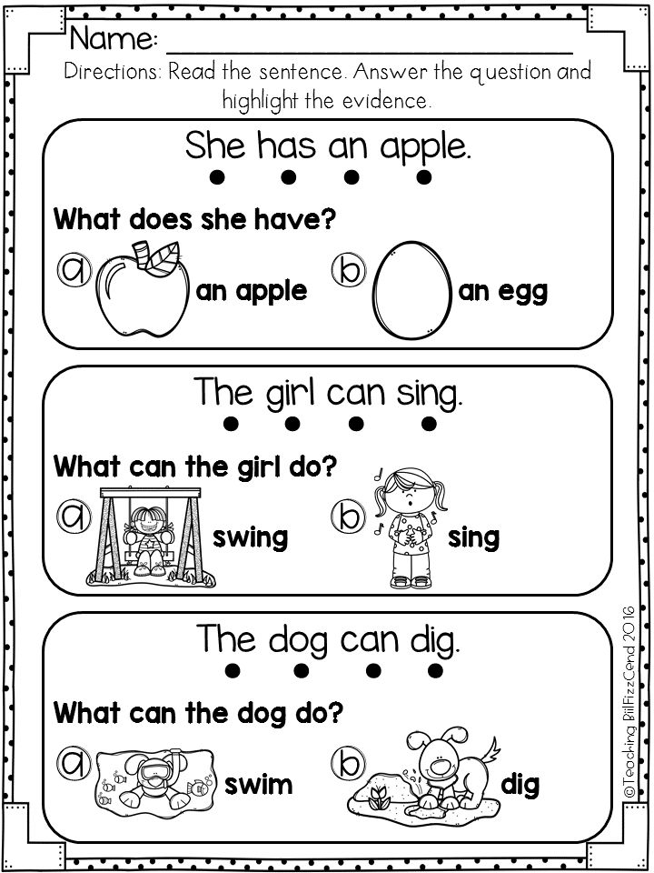Reading Comprehension For Early Reader (SET 1) Picture