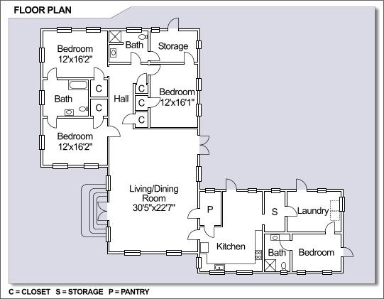 NS Guantanamo Bay Radio Point Neighborhood 4 Bedroom Floor Plan NS Guantanamo Bay