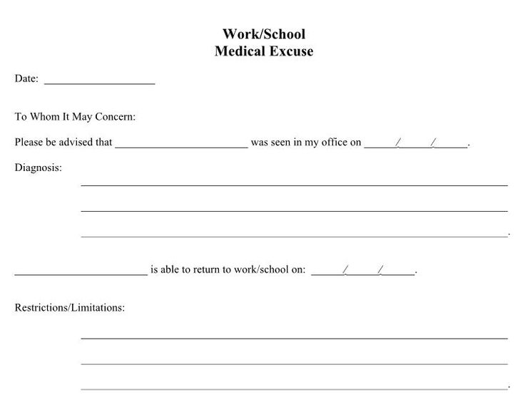 Fake Doctors Note Work Fill Out