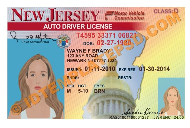 This Is New Jersey USA State Drivers License PSD Photoshop Template On This PSD Template