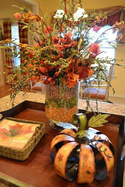 Thanksgiving decor – outer vase layered with dried beans