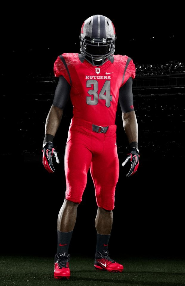 Rutgers Nike Red on Red Football Uniforms 2012