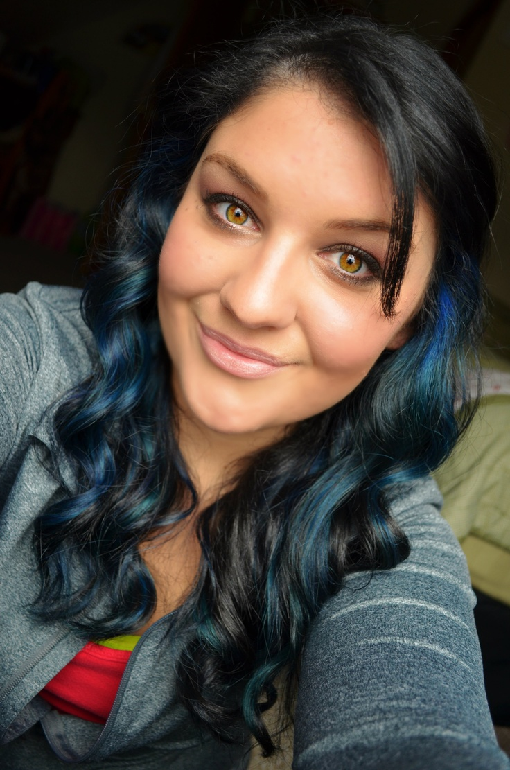 Blue Highlights On Black Hair Primp Pinterest Blue