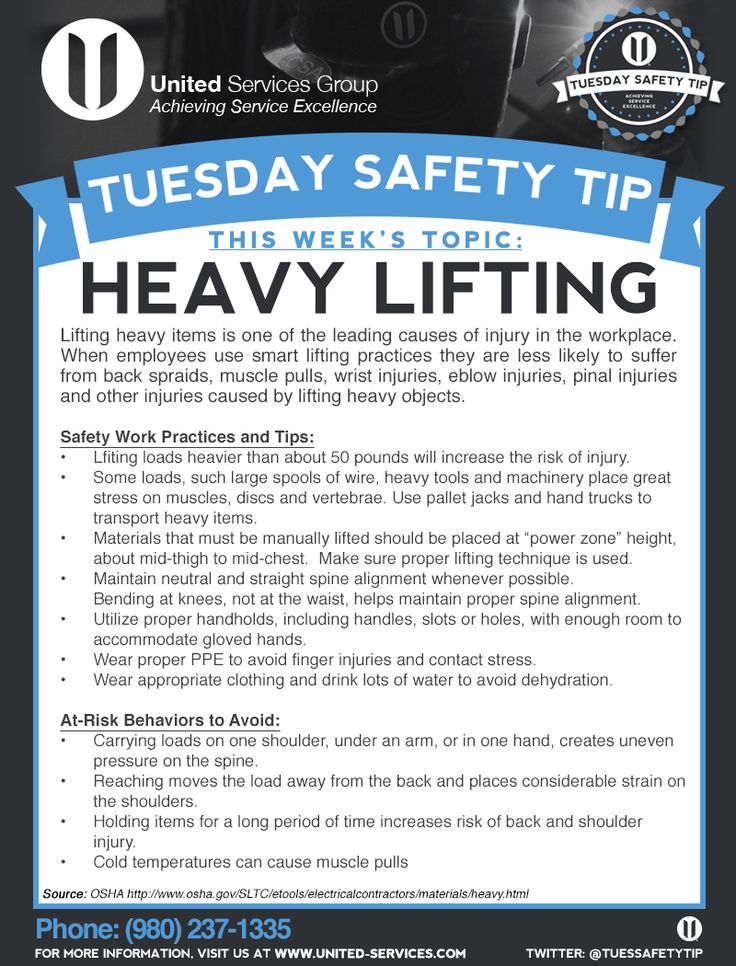 This week's Tuesday Safety Tip is about the Heavy Lifting