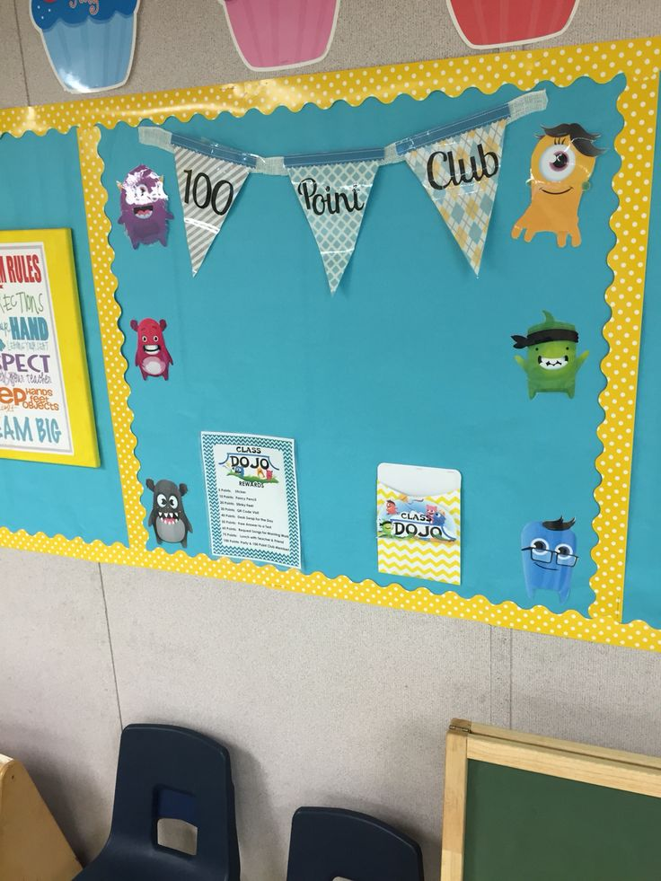 Class dojo 100 point Club display. Rewards listed. Once