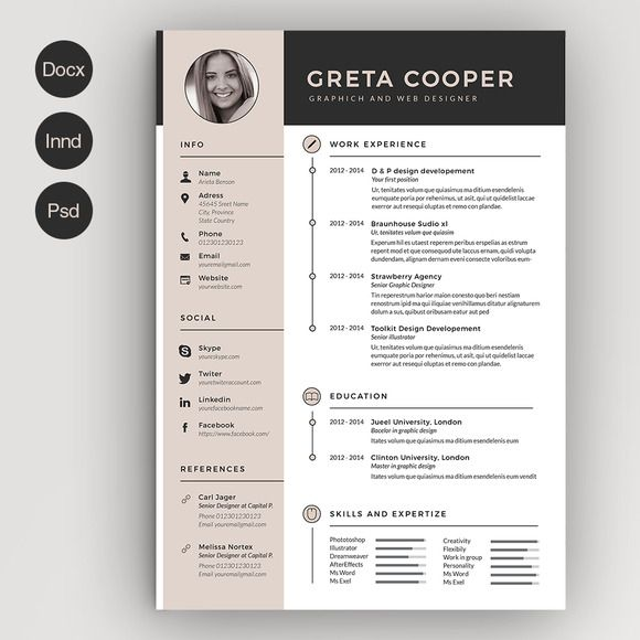 on pinterest resume professional resume template and cv template