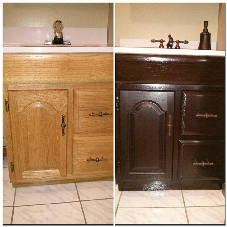 Like New Bathroom Vanity General Finishes Java Gel Stain