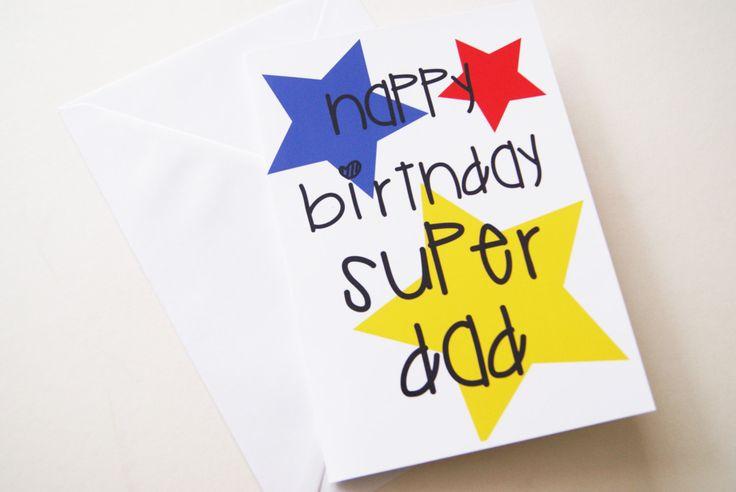 Happy Birthday Super Dad Dads Birthday Card Card from Kids to – Happy Birthday Card for Kids