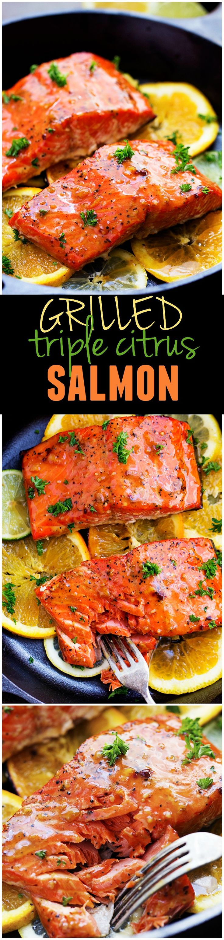A five star salmon recipe that gets infused with a lemon, lime and orange marinade. It grills to tender and flaky perfection and