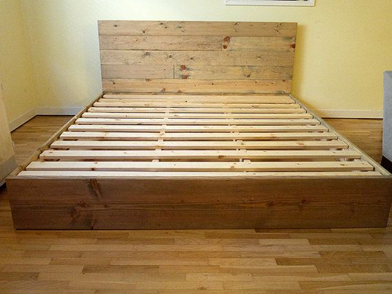 Solid Wood Platform Bed Frame And Headboard Simple Bed