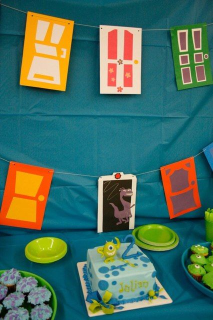 Monster inc party :) door banners! Max is obsessed with mike and sully- may have to think about this for his bday party!