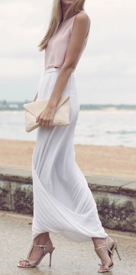 White soft maxi skirt …