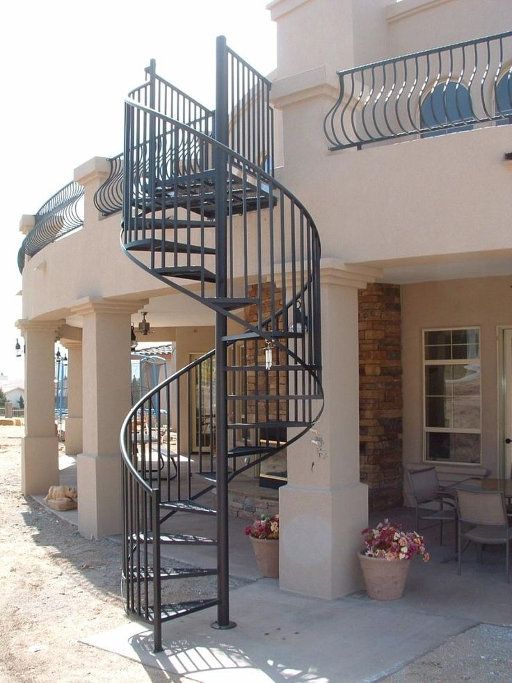 Metal Spiral Staircase For Sale Standard Exterior Spiral Stair With Optional Gate Painted To | Spiral Staircase For Sale