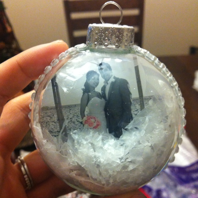 DIY ornament... Just buy a clear bulb and cut a favorite