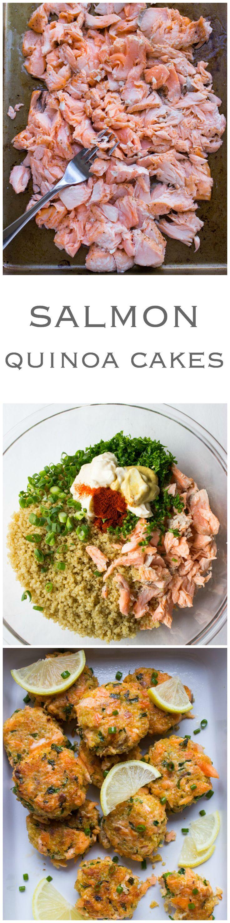 Salmon Quinoa Cakes – transform leftover salmon into these delicious super moist and tender cakes. Pinterest: @Annah | Pyra