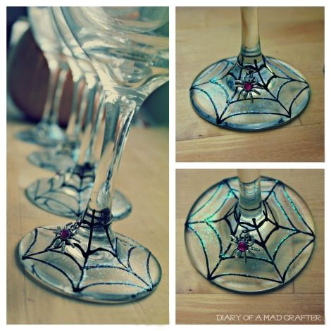 DIY painted spiderweb wine