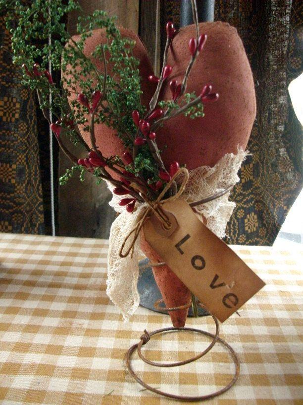 Primitive Valentines Heart On Old Rusty Spring By Oldgoatprims 1000 Art Pinterest