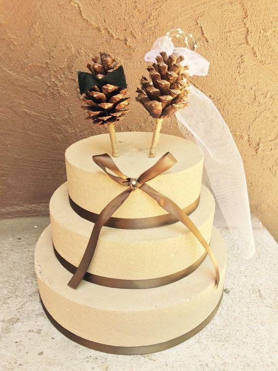 Pine Cone Wedding Cake Topper Winter Wedding Cake Topper