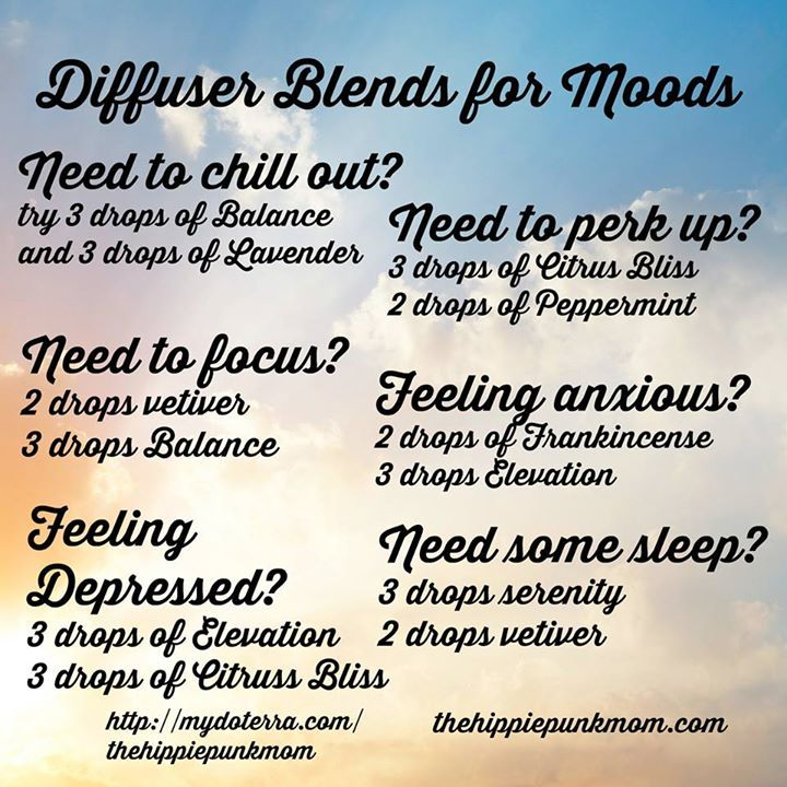 Essential Oil Diffuser Blends for Moods Do you: Need to chill out? Focus? Are you feeling down? Need to perk up? Need some sleep?