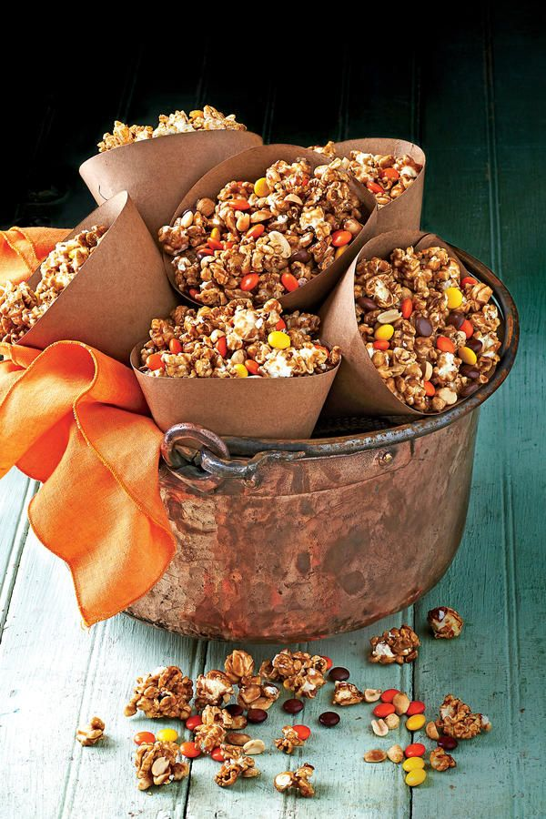 CaramelPeanutPopcorn Snack Mix Halloween Party