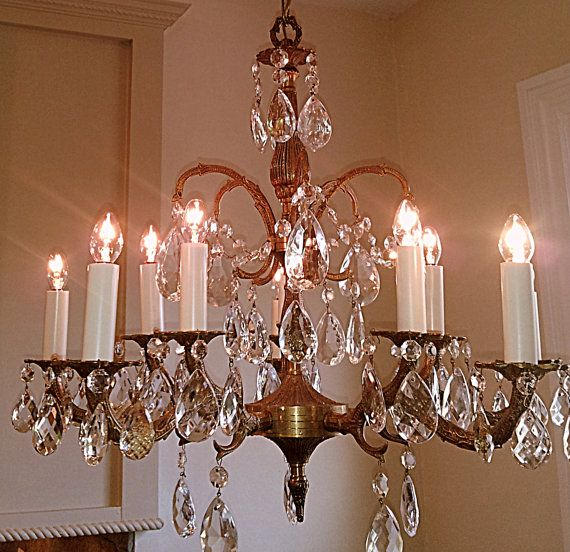 Antique Brass Chandelier With Crystals Furniture Spain Thesecretconsul
