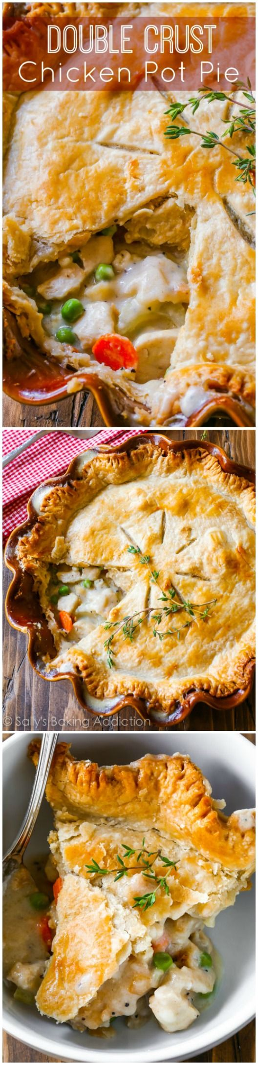 This double crust chicken pot pie is perfect when you're looking for comfort food and don't have all the time and energy in