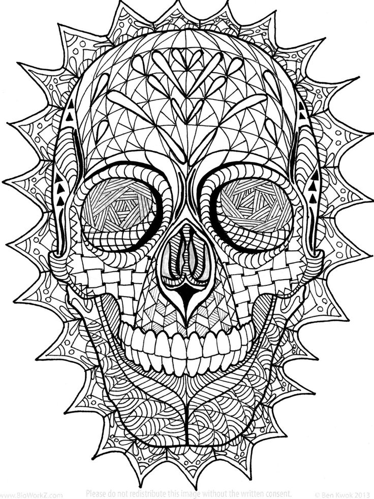Coloring Page, Zentangle, Sugar Skull Digital Coloring pdf