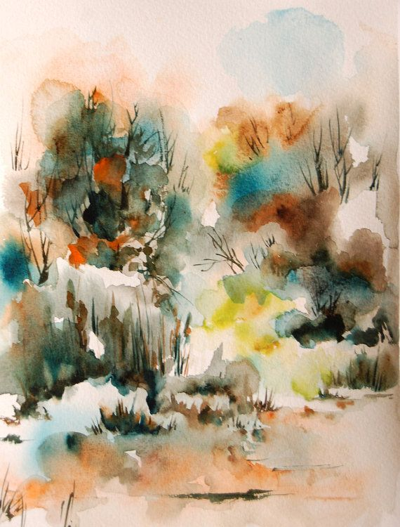 Art Print Of Abstract Landscape Watercolor Painting Art Watercolor Print Landscape Print