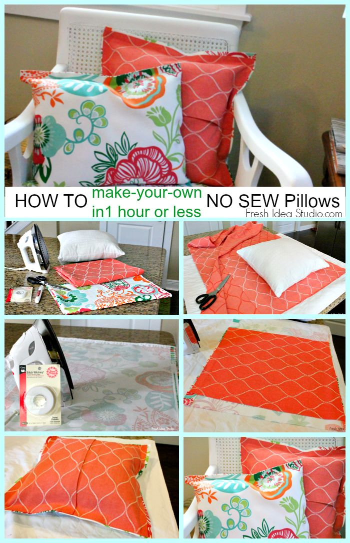 How to make your own Super Easy No Sew Pillow Cover in 1 hour or less    Tutorial by Fresh Idea Studio