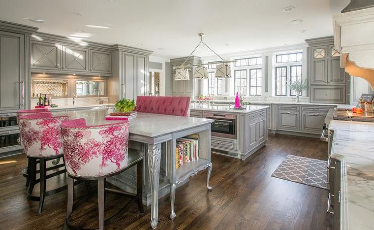 Gray And Pink Kitchen Features Gray Cabinets Paired With