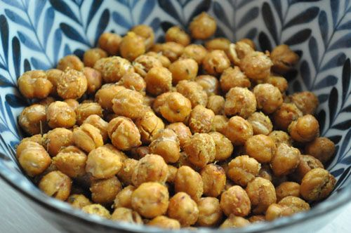 Roasted chickpeas! Toddler friendly! My daughter Charlotte eats them! Low in fat, high in fiber, decent protein, iron, potassium,
