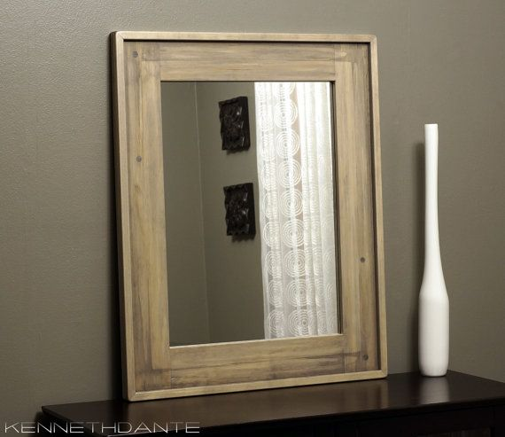 Bathroom Mirror Wood Distressed Driftwood Weathered Light