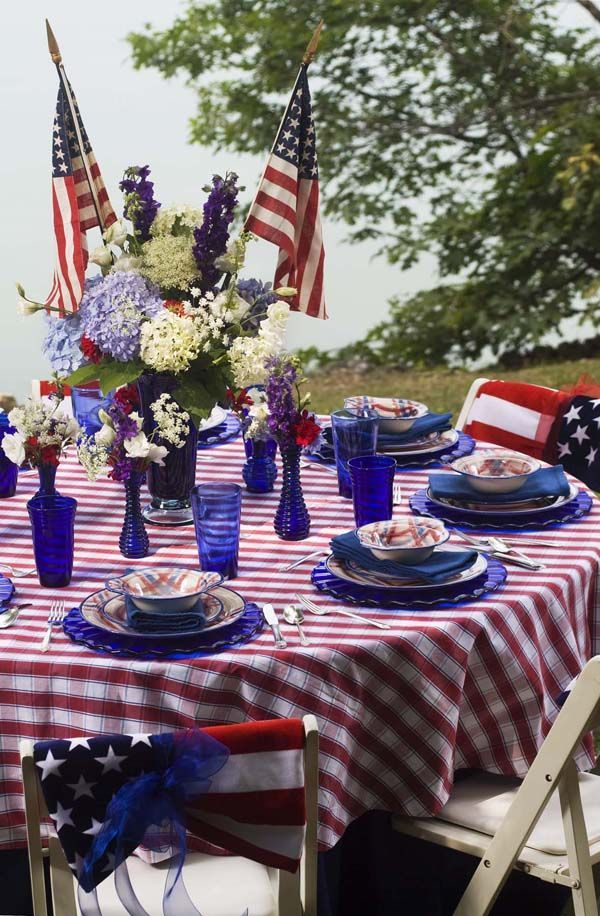 All American Table Decorations And Centerpiece Ideas For The 4th Of July Memorial Day Or Labor