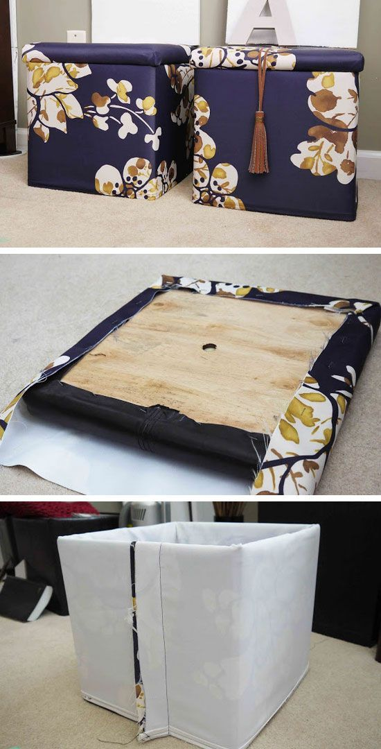 DIY Custom Storage Ottomans | Click Pic for 25 DIY Small Apartment Decorating Ideas on a Budget | Organization Ideas for Small