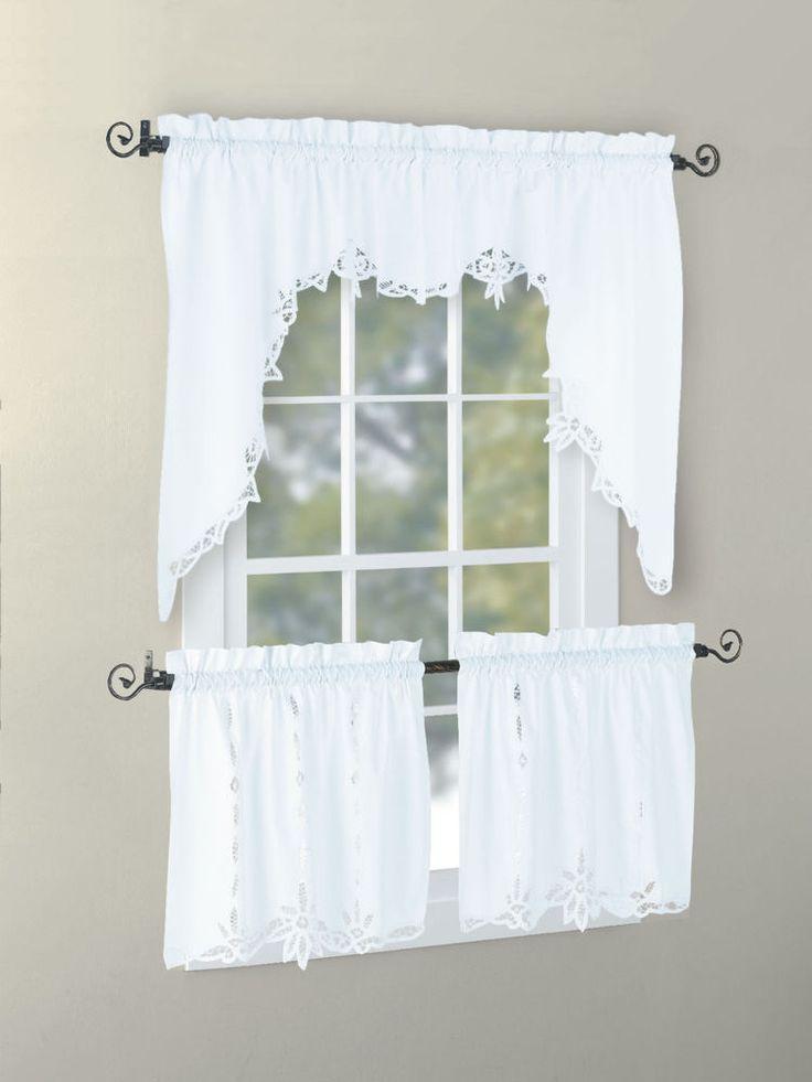 Details About Vintage Antique Cotton Handmade Battenburg Lace Valance Swag Tier White Ecru