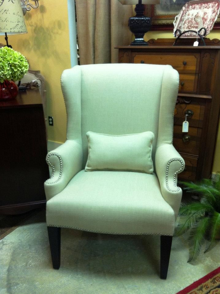 Re Upholstered Wing Back Chair With Nailhead DIY