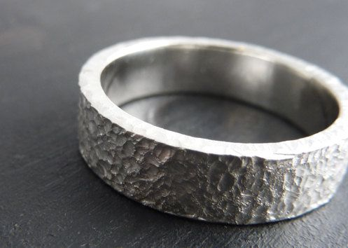 Rustic Distressed Mens Wedding Ring Rough Around The