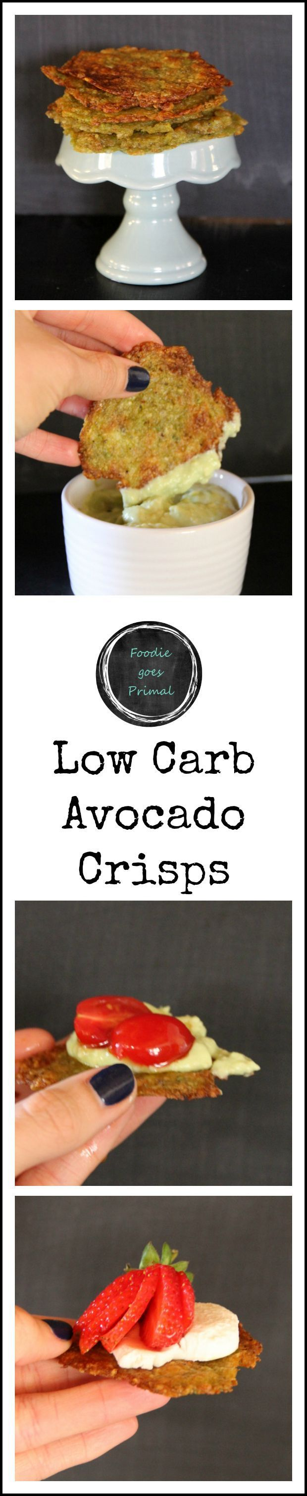 Low Carb Avocado Crisps – ripe Hass avocados, salt, finely grated hard cheese (e.g. Grana Pedana/Parmesan)