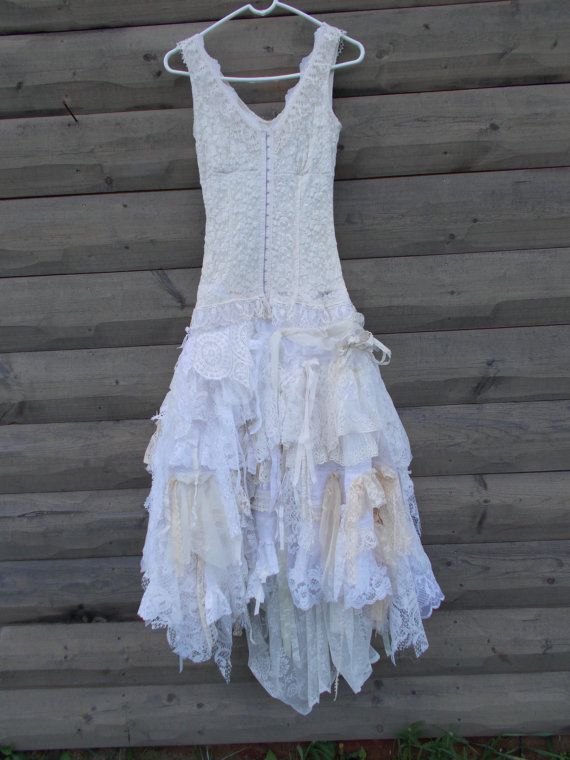 Wedding Dress Rag Doll Style Skirt Corset Front Top