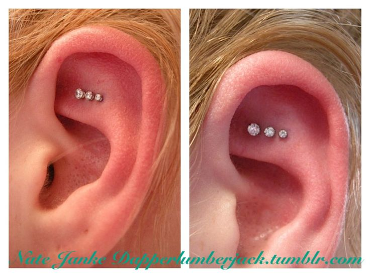 triple piercing above rook. I really like this idea