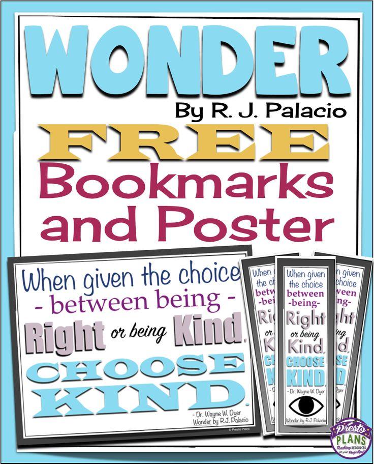 Wonder by R J Palacio Free Choose Kind Bookmarks and