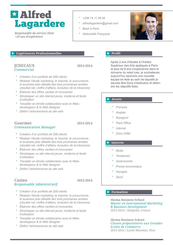 CV Moderne Raisonnable CV Modernes Pinterest