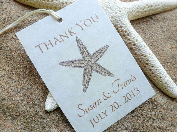 Printable Beach Wedding Favor Tags, Starfish Thank You